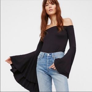 Free People Birds Of Paradise Blk Off Shoulder-L
